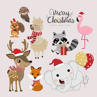 Cute forest animals in christmas holidays.