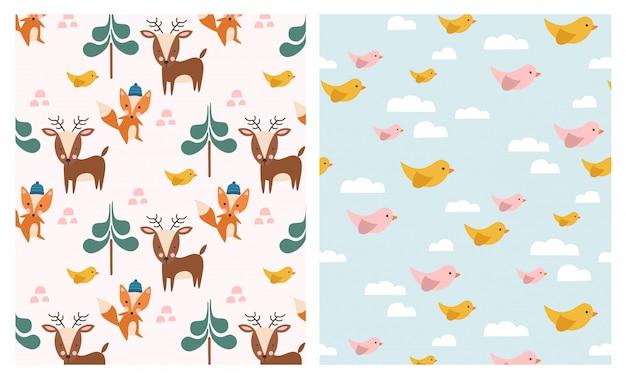 Cute forest animals seamless patterns set