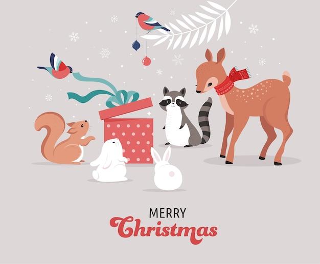 かわいい森の動物、鹿、ウサギ、アライグマ、クマ、リスとの冬とクリスマスのシーン。バナー、グリーティングカード、アパレル、ラベルのデザインに最適です。