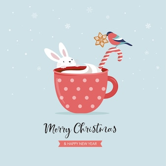 Cute forest animals, winter and christmas scene with hot chocolate mug, bunny and bullfinch. perfect for banner, greeting card, apparel and label design.