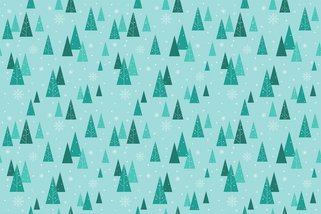 Cute forest seamless pattern in winter