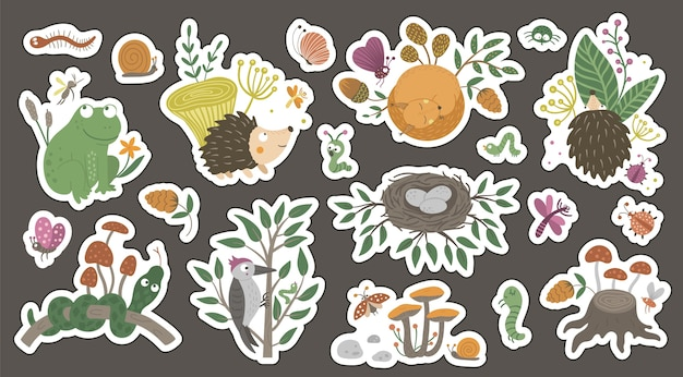 Cute forest themed stickers for children on dark background.