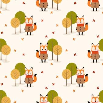 かわいいキツネと秋のシーズンのシームレスなパターン。