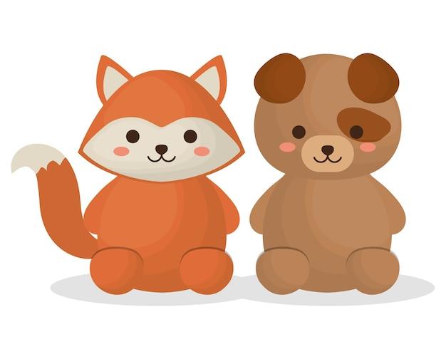 Симпатичная лиса и собака животных значок