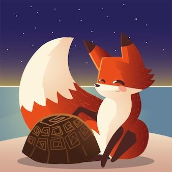 Милая лиса и черепаха дикая природа мультфильм животных иллюстрация