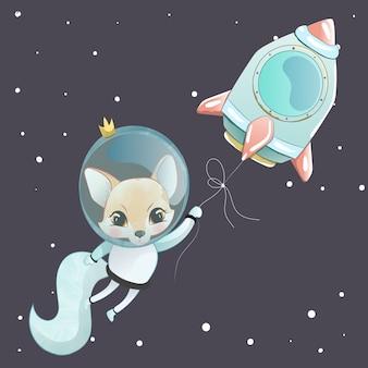 Cute fox astronaut