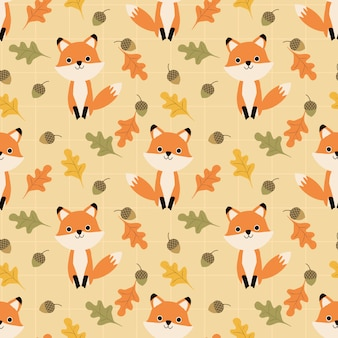 Cute fox and autumn leaves seamless pattern.