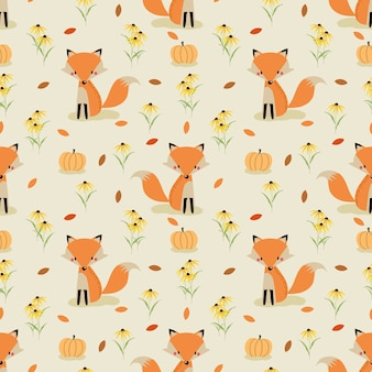 Cute fox in autumn seamless pattern v