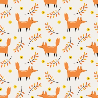 Cute fox in autumn seamless pattern vector.