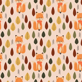 Cute fox and autumn seamless pattern.