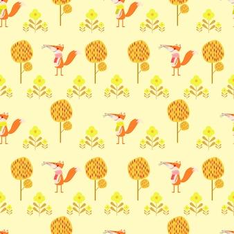 Cute fox in autumn season seamless pattern