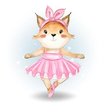 Cute fox  ballerina watercolor illustration