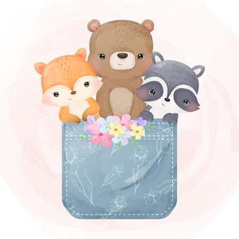 Cute fox, bear and raccoon together in a pocket