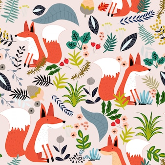Cute fox and botanical leave seamless pattern