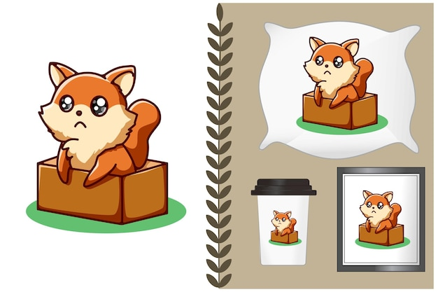 Cute fox in the box cartoon illustration