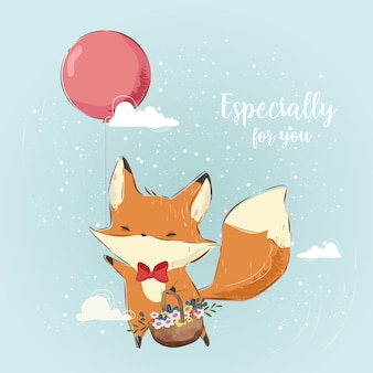 Cute fox bringing a basket with a balloon