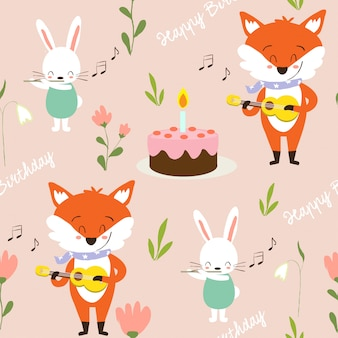 Cute fox and buny playing  music for birthday pattern