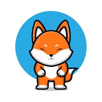 Cute fox cartoon icon illustration