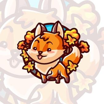 Cute fox cartoon illustration character