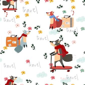 Cute fox cartoon merry christmas seamless pattern