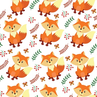 Cute fox cartoon seamless pattern