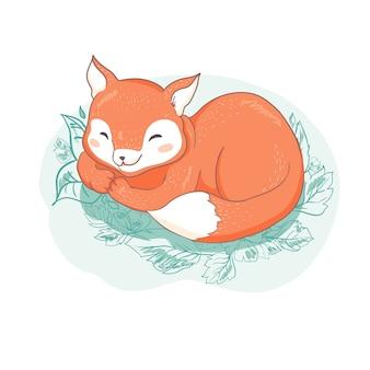 Cute fox. cartoon style. tribal animals portrait. doodle illustration.