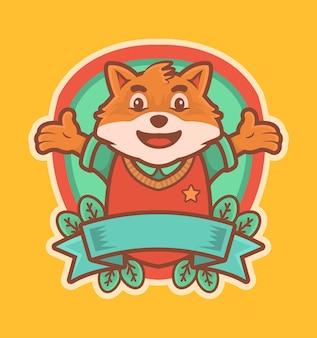 Симпатичная лиса из мультфильма носит униформу университетского логотипа талисмана с лентой и листьями