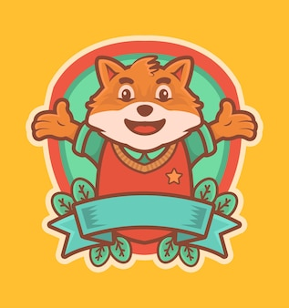 Cute fox cartoon wear uniform university logo mascot with ribbon and leaves