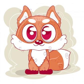 Милый мультфильм лиса