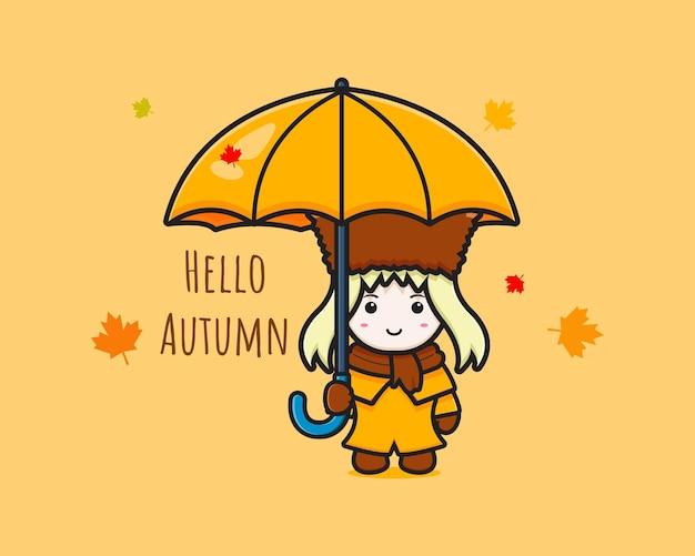 귀여운 여우는 가을 만화 아이콘 삽화를 축하합니다. 디자인 고립 된 평면 만화 스타일