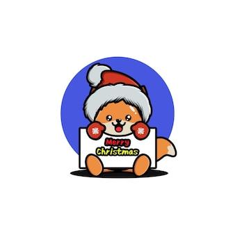 Cute fox celebrating christmas