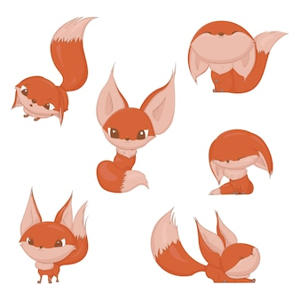 Cute fox character set, different emotions red fox design.