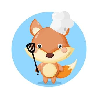 귀여운 여우 요리사 캐릭터 로고