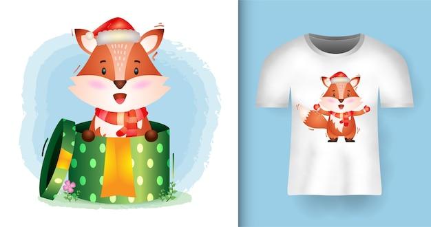 티셔츠 디자인으로 선물 상자에 산타 모자와 스카프를 사용하는 귀여운 여우 크리스마스 캐릭터