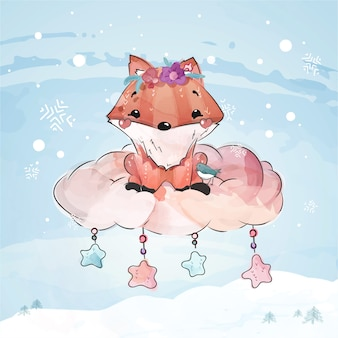 Cute fox christmas day in watercolor doodle style.
