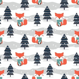 Cute fox in christmas theme seamless pattern