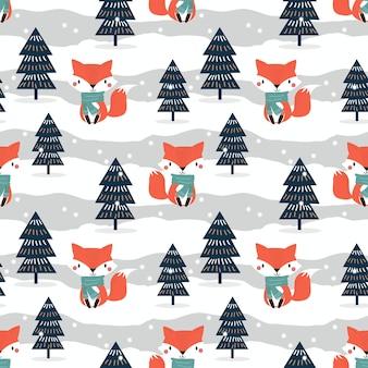 Cute fox in christmas theme seamless pattern