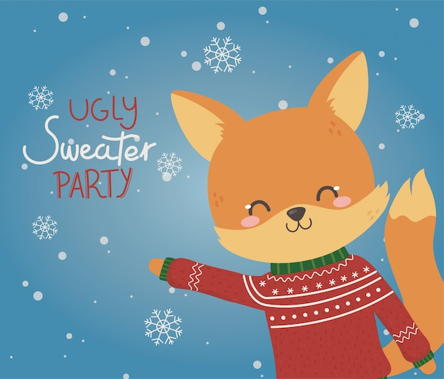 Cute fox christmas ugly sweater party