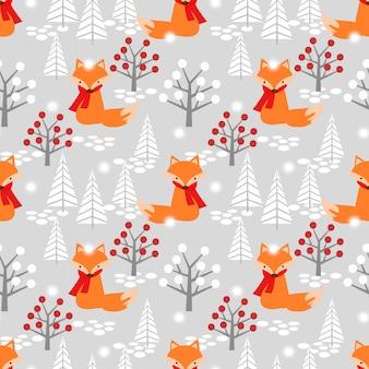 Cute fox in christmas winter seamless pattern.
