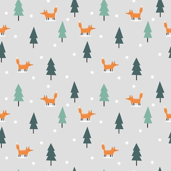 Cute fox in christmas winter seamless pattern