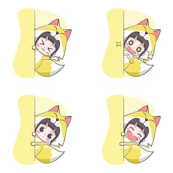 Cute fox costume girl hiding cartoon illustration