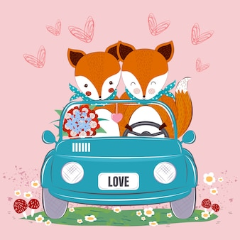 Cute fox couple in a car with flowers bouquet and heart