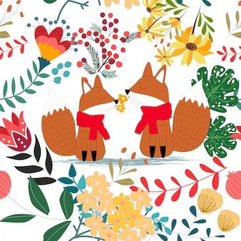花の花のシームレスなパターンでかわいいキツネのカップル