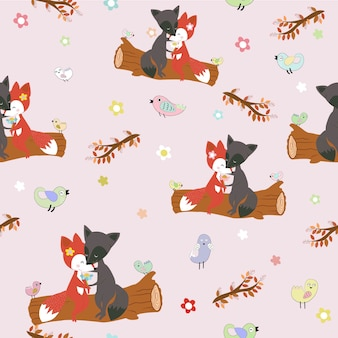 Cute fox couple in love in forest seamless pattern.