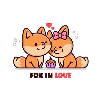 Милая пара лис делится маффином и прекрасно себя чувствует.