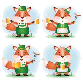A cute fox couple with traditional oktoberfest dress