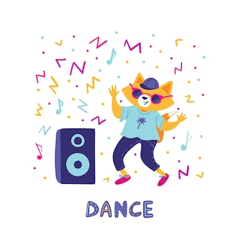 Cute fox dancing in sunglasses with a music column.