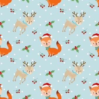 Cute fox and deer in winter seamless pattern.
