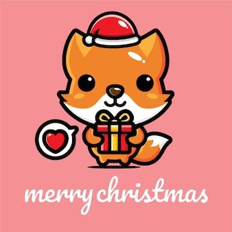 Cute fox design celebrating christmas