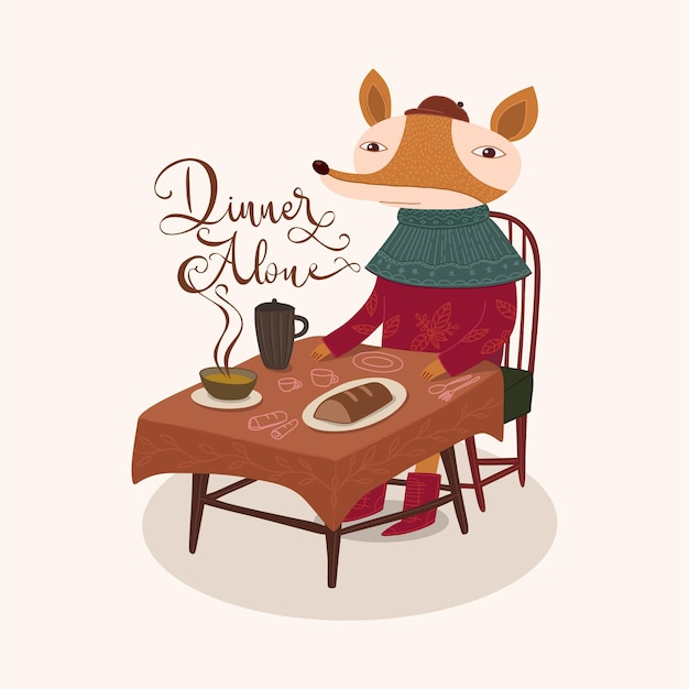 귀여운 여우 저녁 식사 혼자 그림